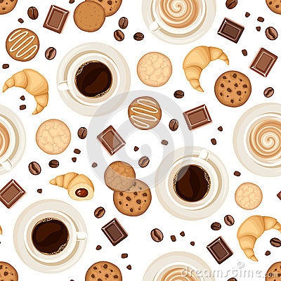Free Seamless Background With Coffee Cups, Beans, Cookies, Croissants And Chocolate. Vector Illustration. Stock Image - 59297201