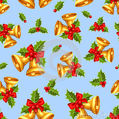 Free Seamless Background With Gold Christmas Bells On Blue. Vector Illustration. Stock Images - 81865694