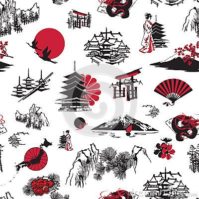 Free Seamless Background With Japanese Miniatures Stock Images - 33406654