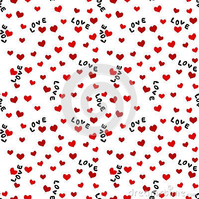 Free Seamless Background With Love Words And Hearts Stock Photography - 34497352