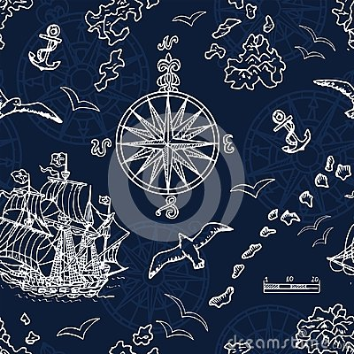 Free Seamless Background With Marine And Nautical Elements, Old Ships, Compass, Treasure Islands On Blue Royalty Free Stock Photo - 108856975