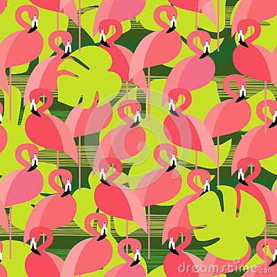 Free Seamless  Background With Pattern Of Pink Flamingos. Pink Flamingos On Palm Leaves. Royalty Free Stock Photography - 112751467