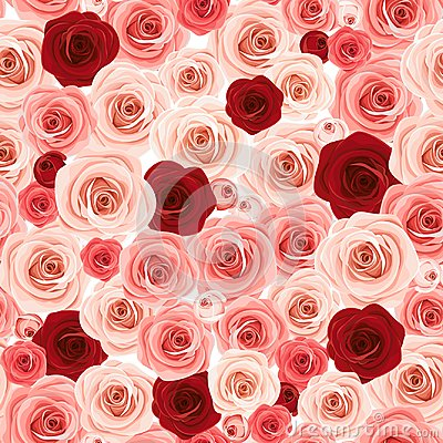 Free Seamless Background With Pink And Burgundy Roses. Vector Illustration. Royalty Free Stock Photos - 124058308
