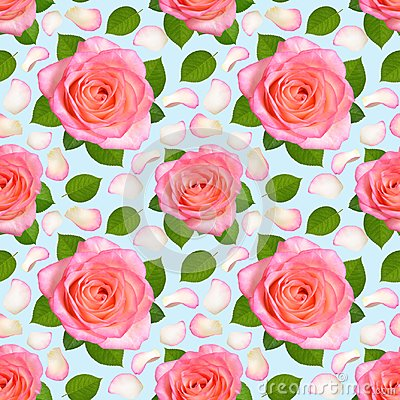 Free Seamless Background With Pink Roses And Petals. Stock Images - 112660154