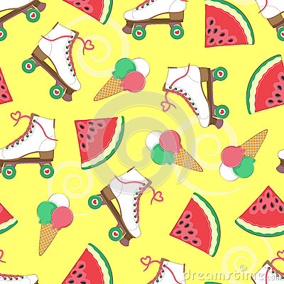 Free Seamless Background With Rollers, Watermelon And Ice Cream. A Simple Pattern. Vector. Summer Time. Holidays. Stock Photography - 92142992