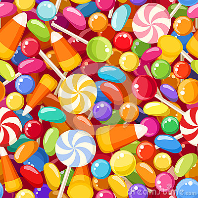 Free Seamless Background With Various Candies. Royalty Free Stock Photography - 34868197