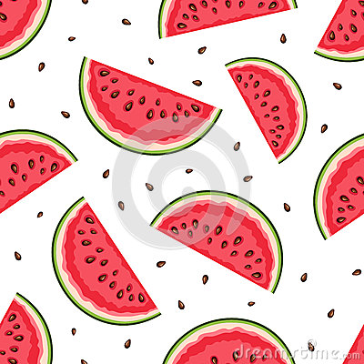Free Seamless Background With Watermelon Slices. Vector Illustration. Royalty Free Stock Photos - 44221668