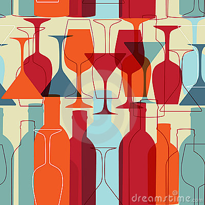 Free Seamless Background With Wine Bottles And Glasses Stock Image - 18976471