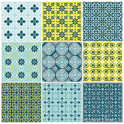 Seamless backgrounds Set - Vintage Tile