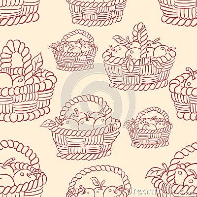 Seamless basket apples