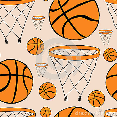 Free Seamless Basketball Baskets And Balls Stock Photos - 60427753