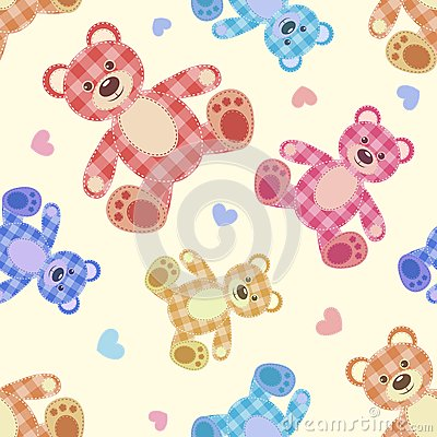 Seamless bear light patchwork pattern.
