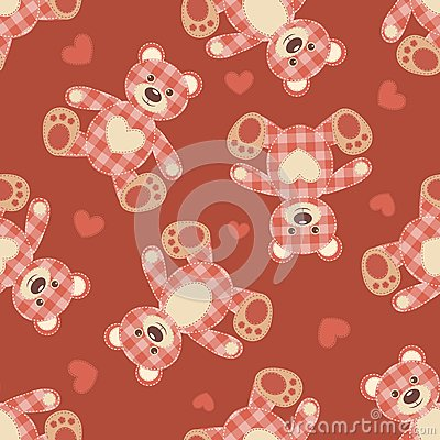 Seamless bear patchwork pattern.