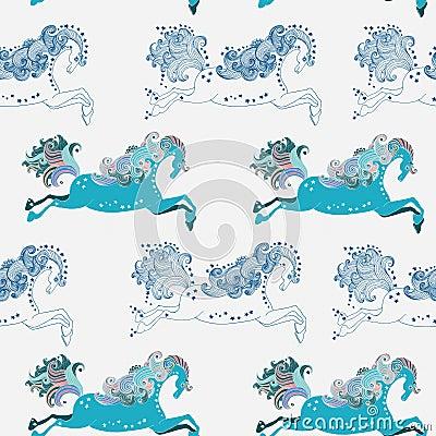 Seamless Beautiful jumping horse