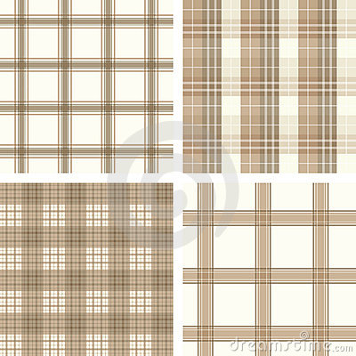 Seamless beige checked pattern set