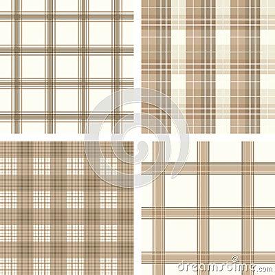 Free Seamless Beige Checked Pattern Set Stock Photos - 8381453
