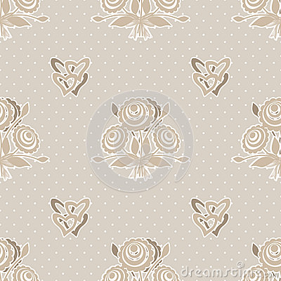 Seamless beige flowers pattern on beige dotted Stock Photo