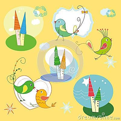Seamless bird and castle