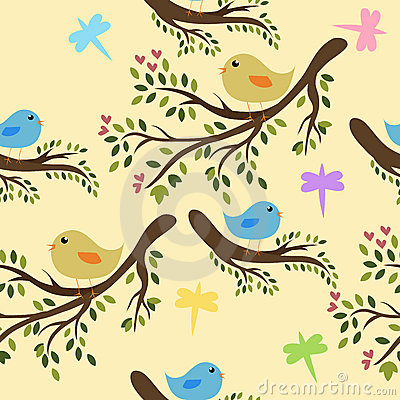 Free Seamless Birds Background Royalty Free Stock Images - 9937289