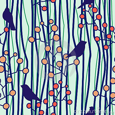 Seamless with birds and twigs