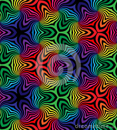 Free Seamless Black And Colorful Curls Pattern.Geometric Abstract Background. Stock Photography - 75182132
