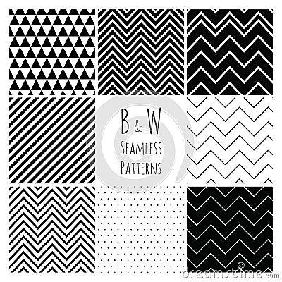 Free Seamless Black And White Geometric Background Set. Stock Image - 37753251