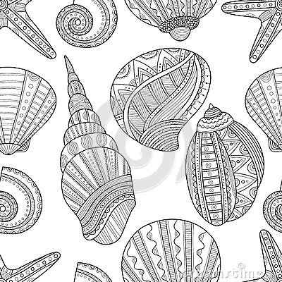 Free Seamless Black And White Pattern Of Seashells To Coloring Book Stock Photo - 68770350