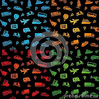 Seamless black background, transport icons