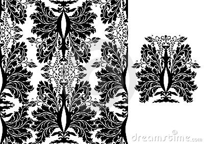 Seamless black damask pattern