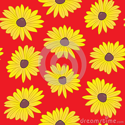 Seamless Black Eyed Susan Pattern