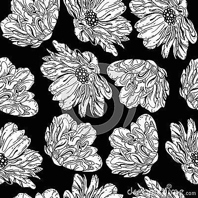 Seamless black flowers