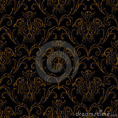 Seamless black with gold stripe floral background