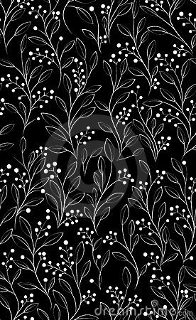 Seamless black pattern with white flowers