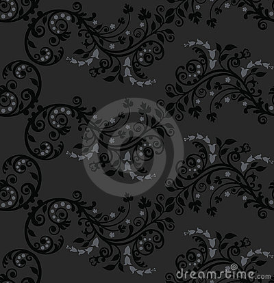 Seamless black and silver foliage pattern
