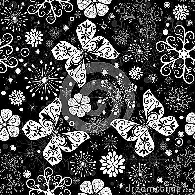 Seamless black-white christmas graphic pattern