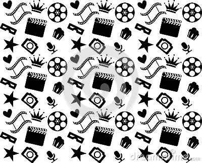 Seamless black and white cinema pattern