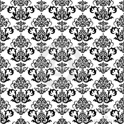 Seamless black and white floral wallpaper pattern