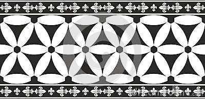 Seamless black-and-white gothic floral border