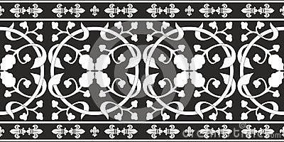 Seamless black-and-white gothic floral pattern