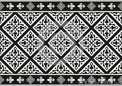 Seamless black-and-white gothic floral texture