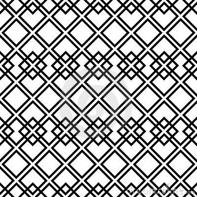 Seamless black-and-white pattern with square