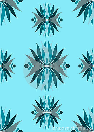 Seamless blue abstract flowers