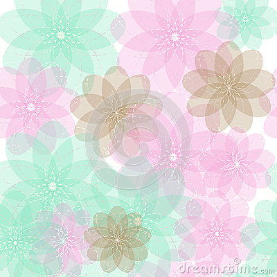 Seamless blue, brown and pink light abstract flowers with transparent  background pattern