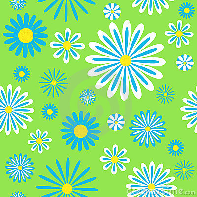 Seamless blue chamomiles pattern