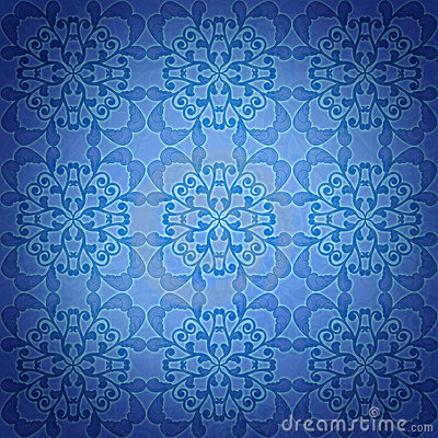Seamless blue damask pattern background