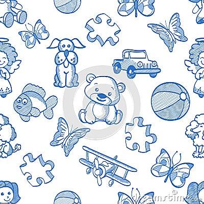 Free Seamless Blue Kids Pattern Stock Photo - 43297040