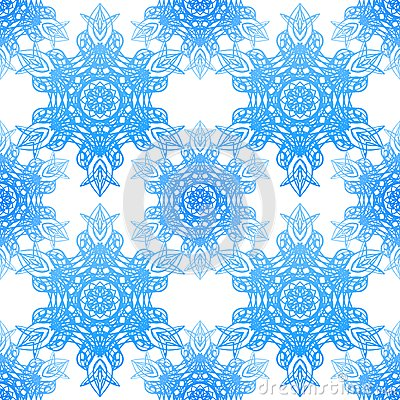 Seamless blue pattern with elegance snowflakes