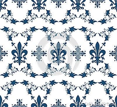 Seamless blue royal texture with fleur-de-lis