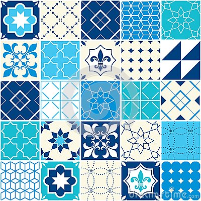 Free Seamless Blue Vector Tile Pattern, Azulejos Tiles, Portuguese Geometric And Floral Design - Colorful Royalty Free Stock Image - 109383506