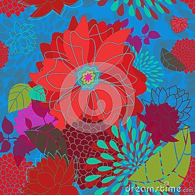 Free Seamless Bold Flower Pattern Royalty Free Stock Image - 22494796